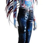"""David Cintract """"mannequin rouge pop libre"""" bleu hauteur 190cm"""