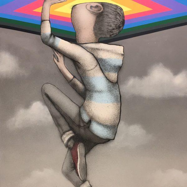 Seth technique mixte sur toile 195 x 130 cm.