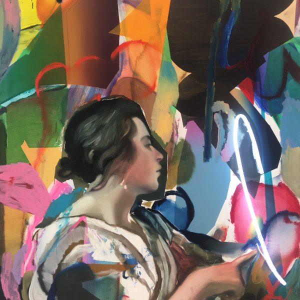 """Pascal Vilcollet """"Cybil"""" d'après Velazquez Peinture a l'huile et neon."""