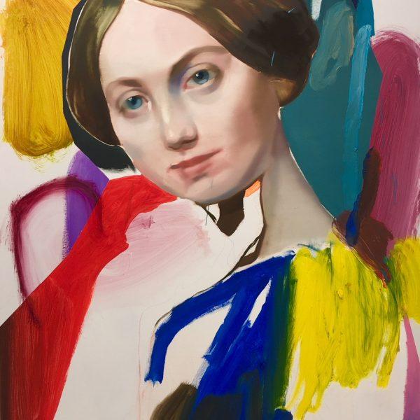 """Pascal Vilcollet """"Comtesse"""" d'après Ingres huile sur toile 130 X 97 cm."""