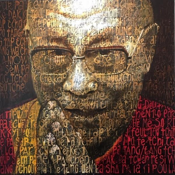 Jean Claude Cuenca - Dalaï Lama - 100 x 100 cm