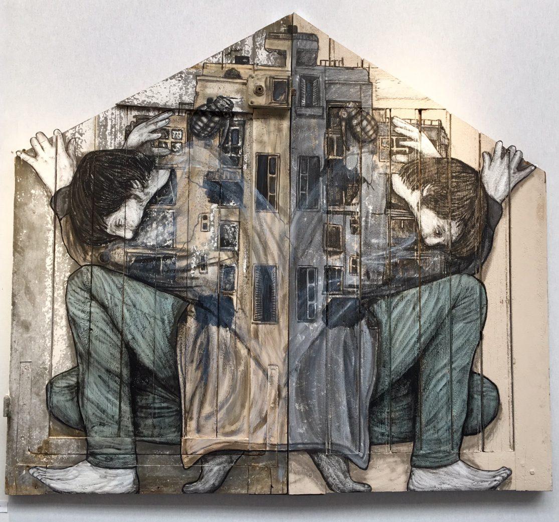 """Levalet """"Cohabiter"""" 139x125cm technique: Peinture sur bois. 139 x 125 cm."""