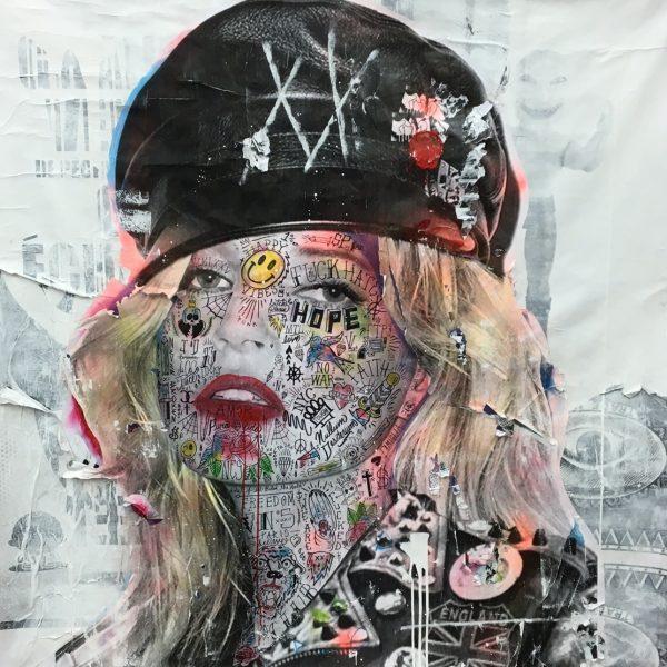 Stikki Peaches - Kate Moss 150 x 150 cm.