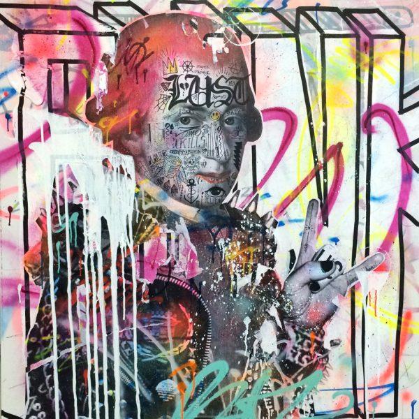 StikkiPeach Mozart – Technique mixte sur toile 120 x 120 cm
