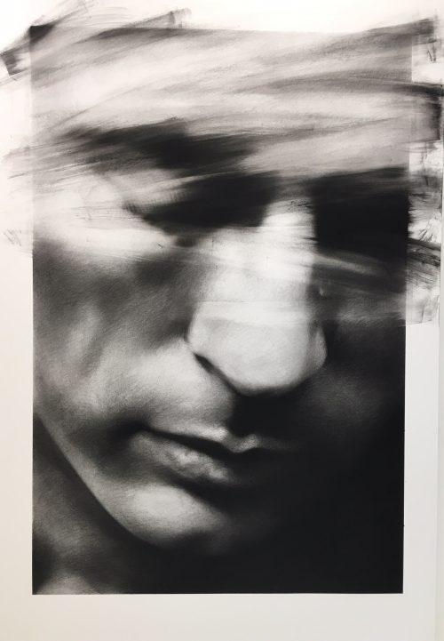 """Valentin van der Meulen """"Charles""""Fusain sur papier 195 x 130 cm."""