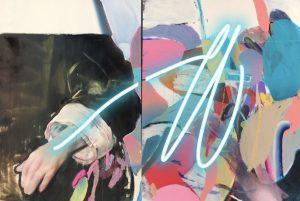 """Pascal Vilcollet """"d'apres Ingres"""" Huile sur toile et neon 162 X 114 cm."""
