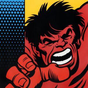 """Seen """"Red Hulk140x140 cm."""