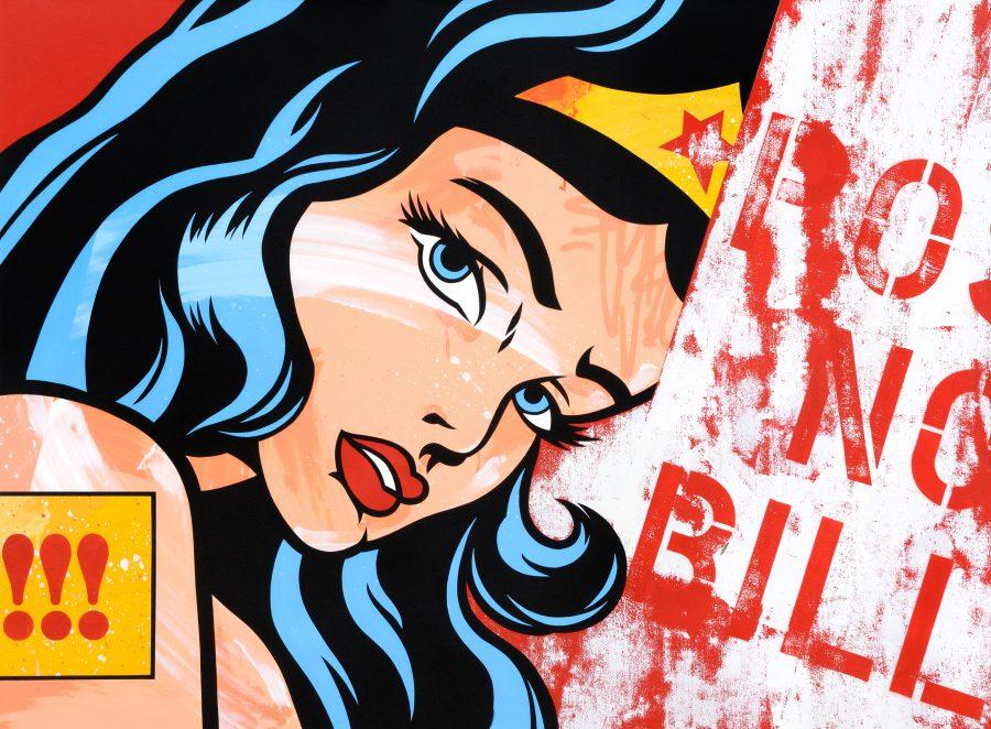 "Seen ""Wonder woman"" 140 x 108 cm."