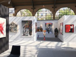 Urban Art Fair 2017 au Carreau du Temple a Paris . Stand de la galerie Géraldine Zberro