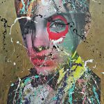Dain 101 x 75 cmPaintuer aérosol et collage sur toile