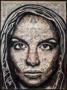 """Matéo """"Wuduh"""" 170 x 120 cm. Peinture aérosol sur tapis"""