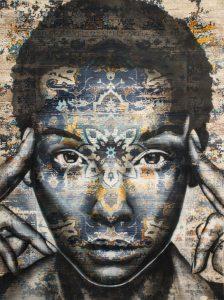 "Matéo ""Simsaala"" 170 x 120 cm.Peinture aérosol sur tapis"