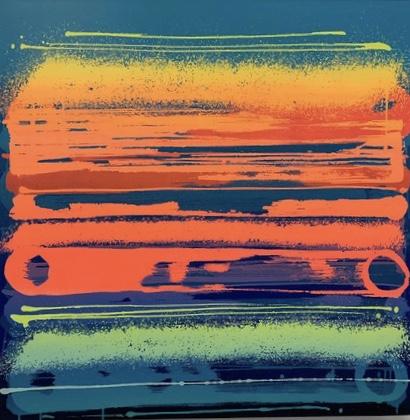 """Zest """"Fréquence orange"""" 100 x 100cm"""