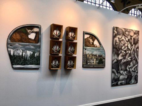 Vue de la galerie Géraldine Zberro sur urban Art Fair 2018. Oeuvres de levalet