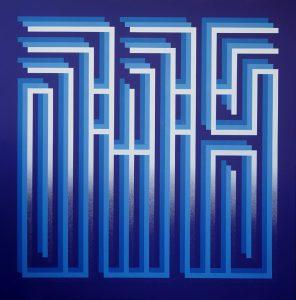 "l'Atlas ""Blue lights"" 145 x 149 cm."