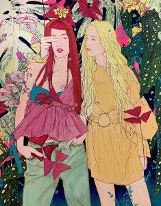 "Ramon Martins ""Girls"" 150 x 150 cm."