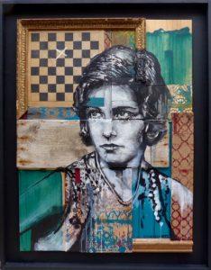 """Evazésir """"Pensive"""" 100 x 78 cm Peinture sur assemblage de bois"""